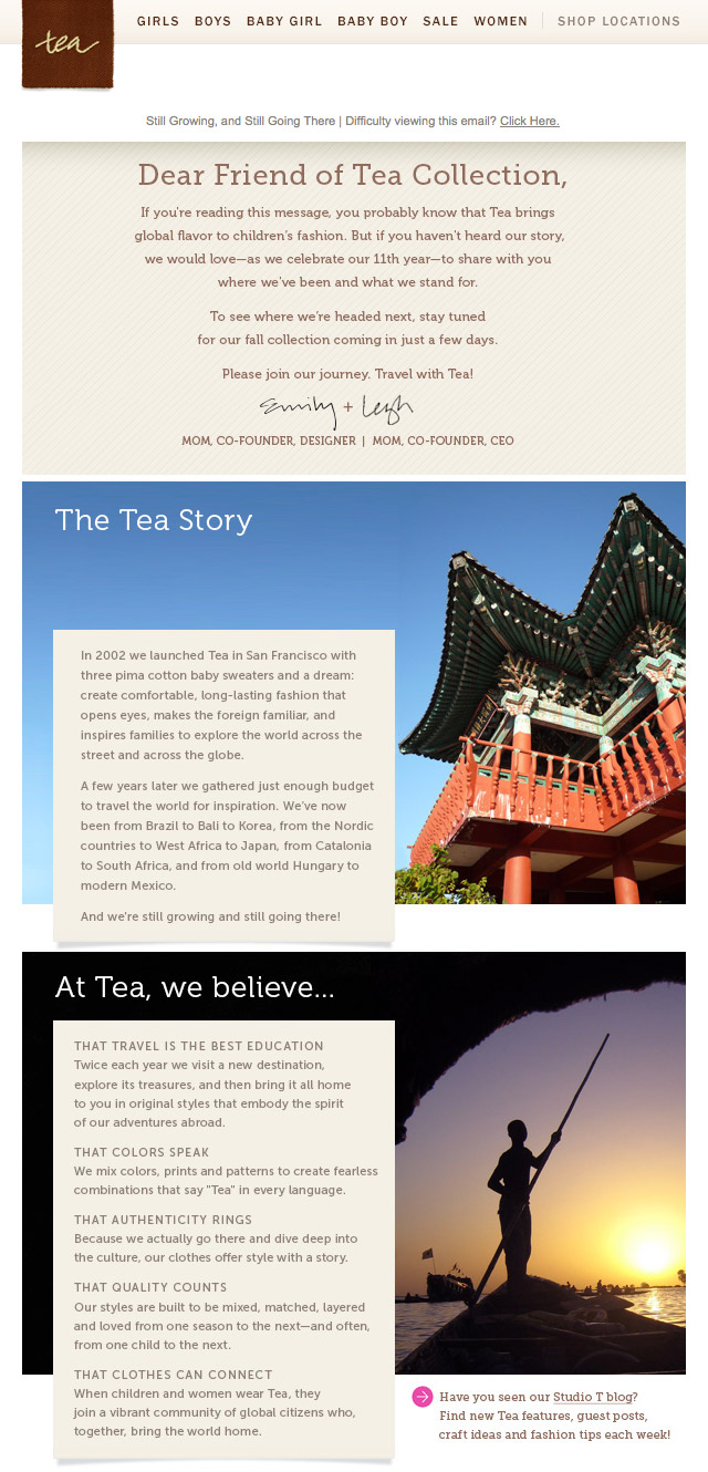 Tea Collection Editorial Emails